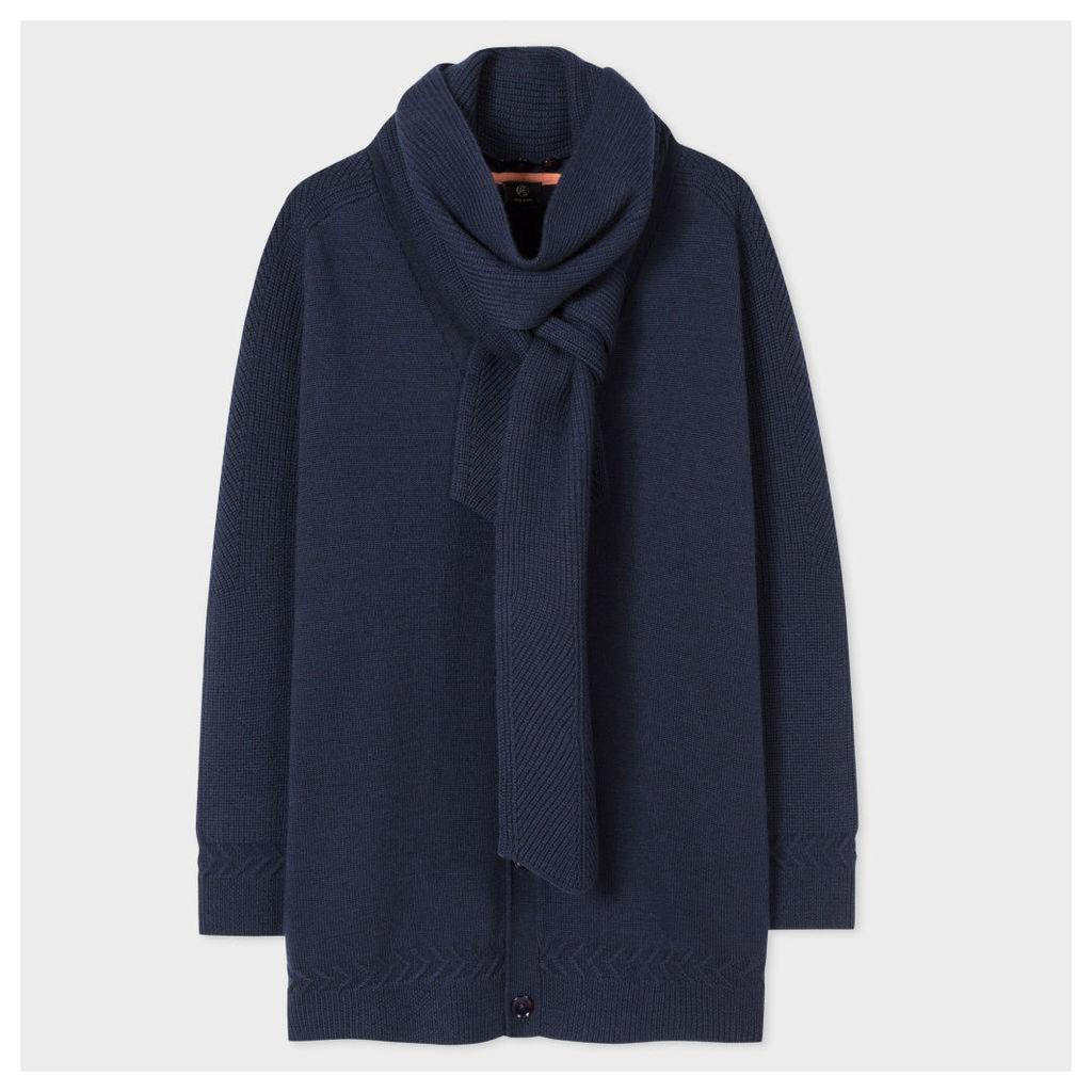 Women's Navy Wool Cardigan-Coat With Detachable Scarf