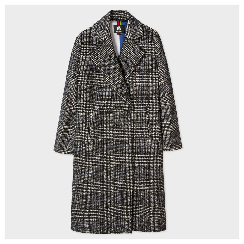 Women's Puppytooth-Check Wool-Cotton Cocoon Coat