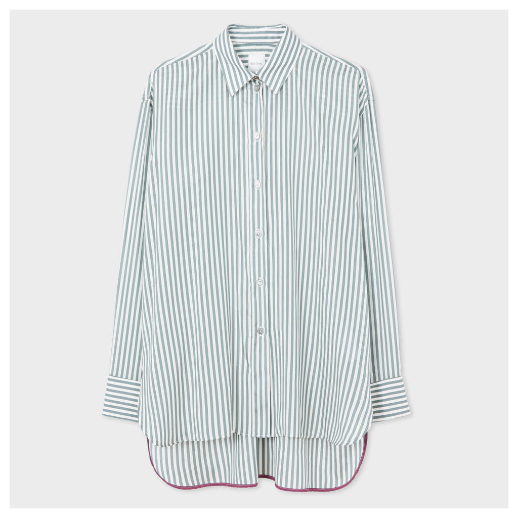 Women's Green Striped Silk Double-Cuff Shirt