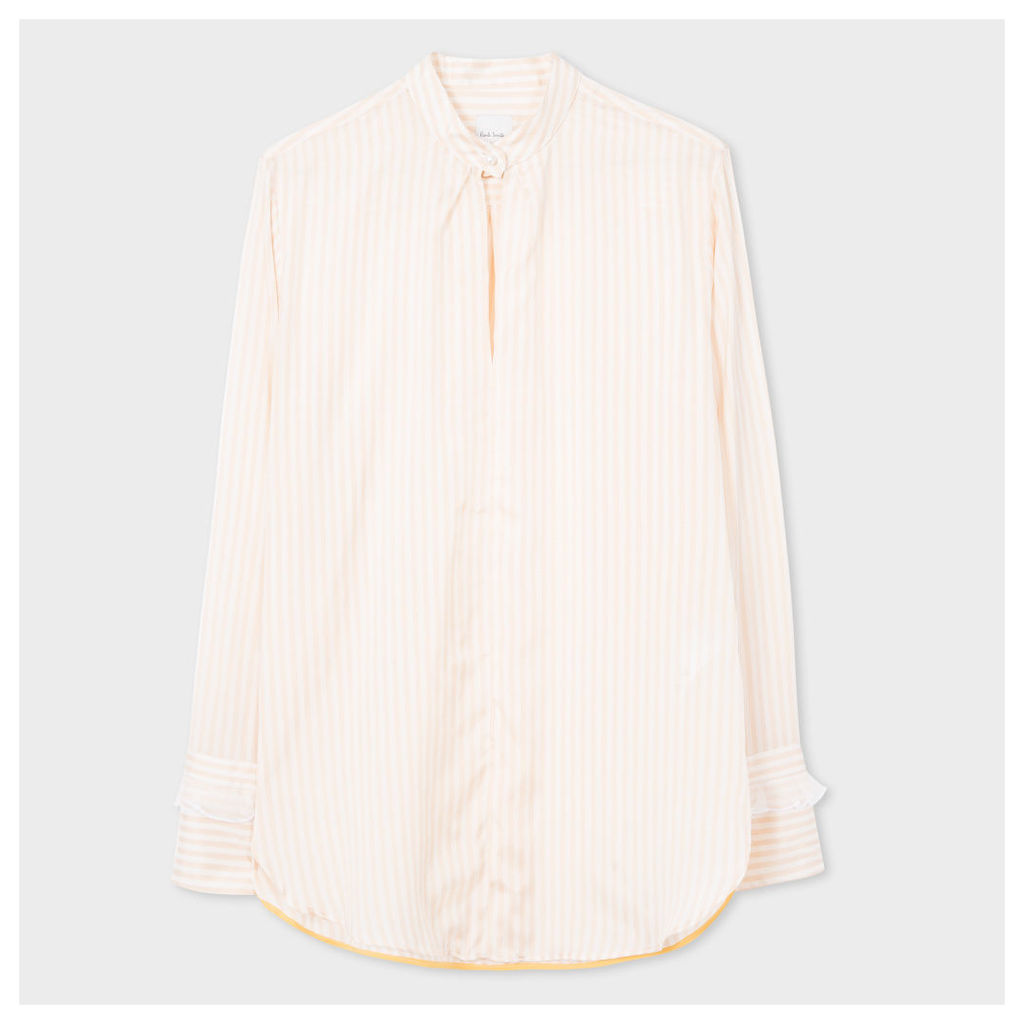 Women's Peach Striped Silk Tunic-Shirt With Ruffle Cuffs