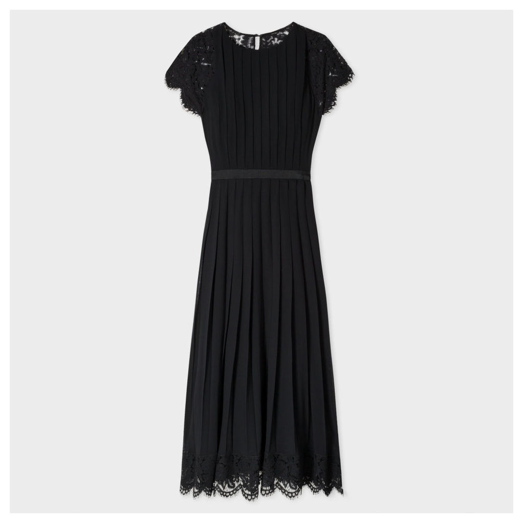 Women's Black Pleated Dress With Floral Lace Panels