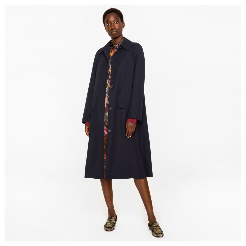 Women's Navy Wool-Viscose Twill Coat