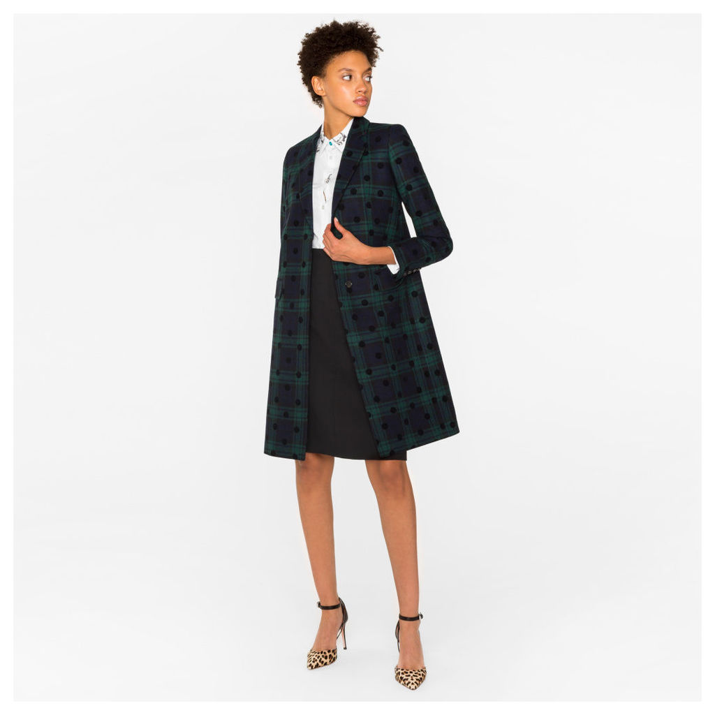 Women's Wool-Blend Black Watch Check Epsom Coat With Flocked Spots