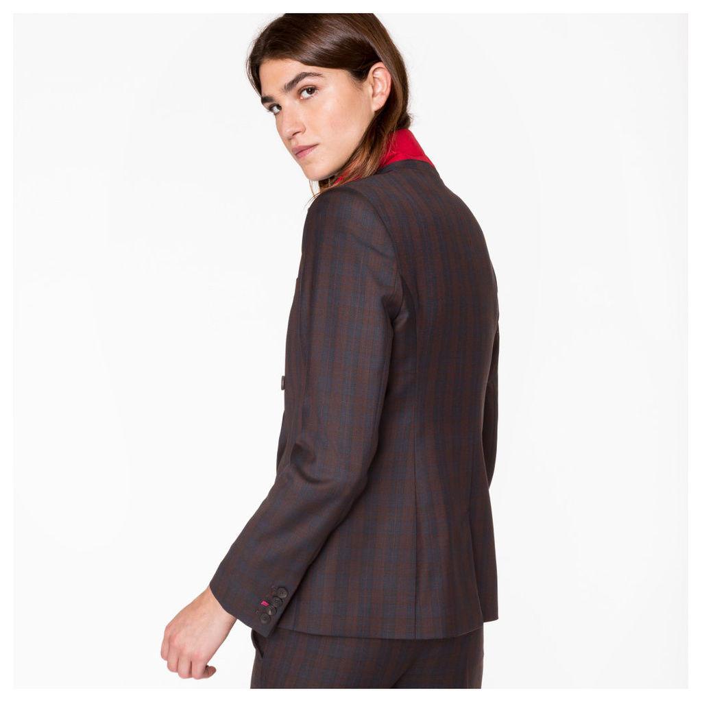 Women's Navy And Burgundy Check Wool Blazer