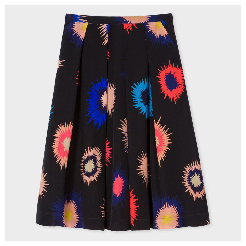 Women's Black 'Supernova' Print Silk Skirt