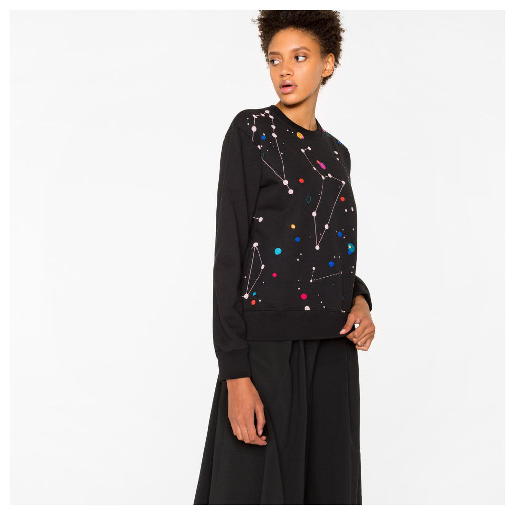 Women's Black 'Milky Way' Print Sweatshirt With Embroidery