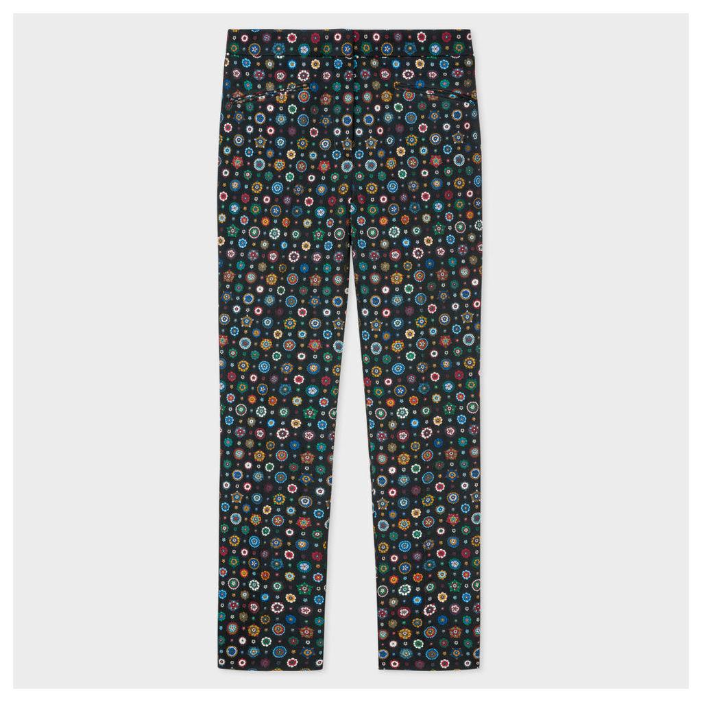 Women's Slim-Fit Black 'Tudor Rose' Jacquard Trousers