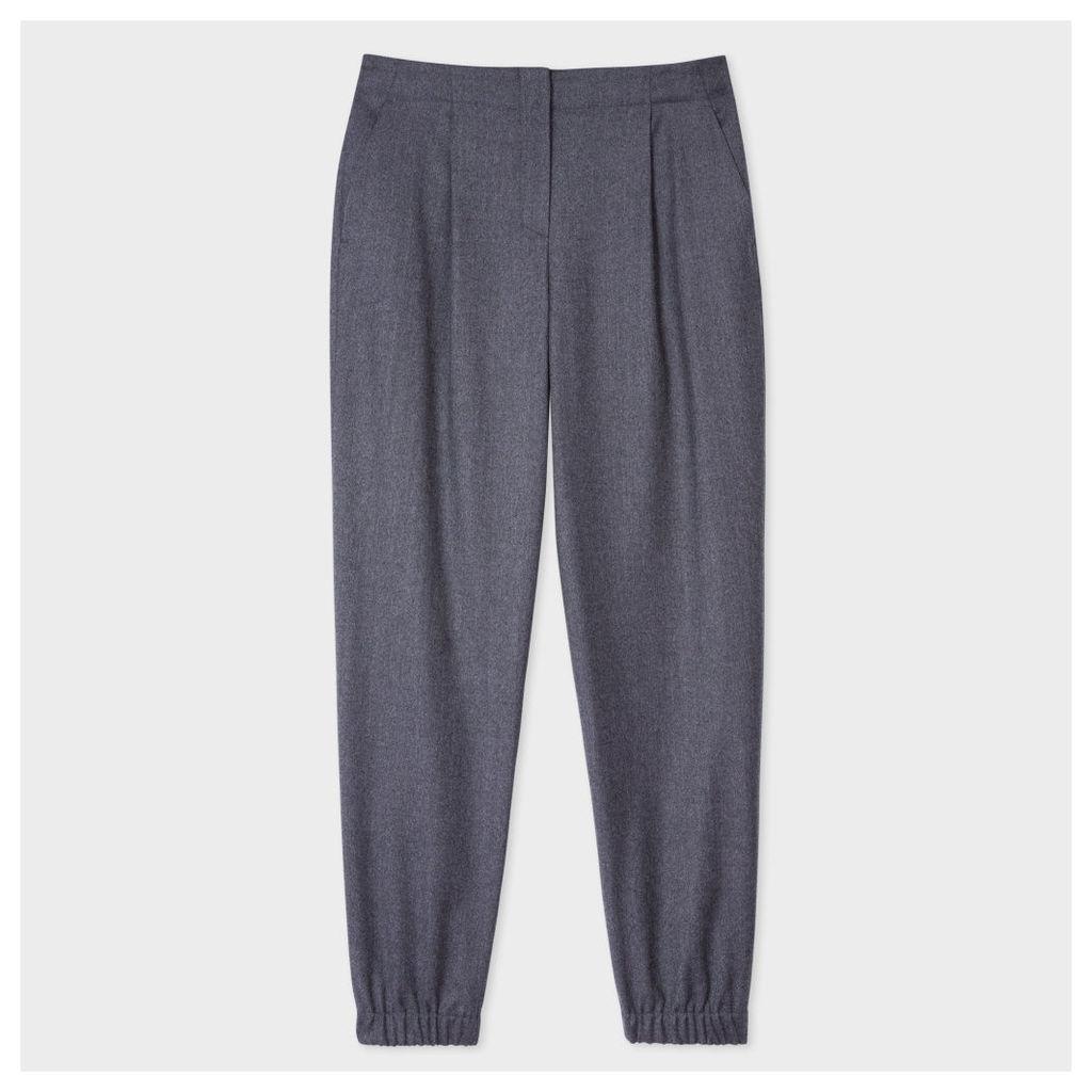 Women's Mottled Grey Wool-Flannel Cuffed Trousers