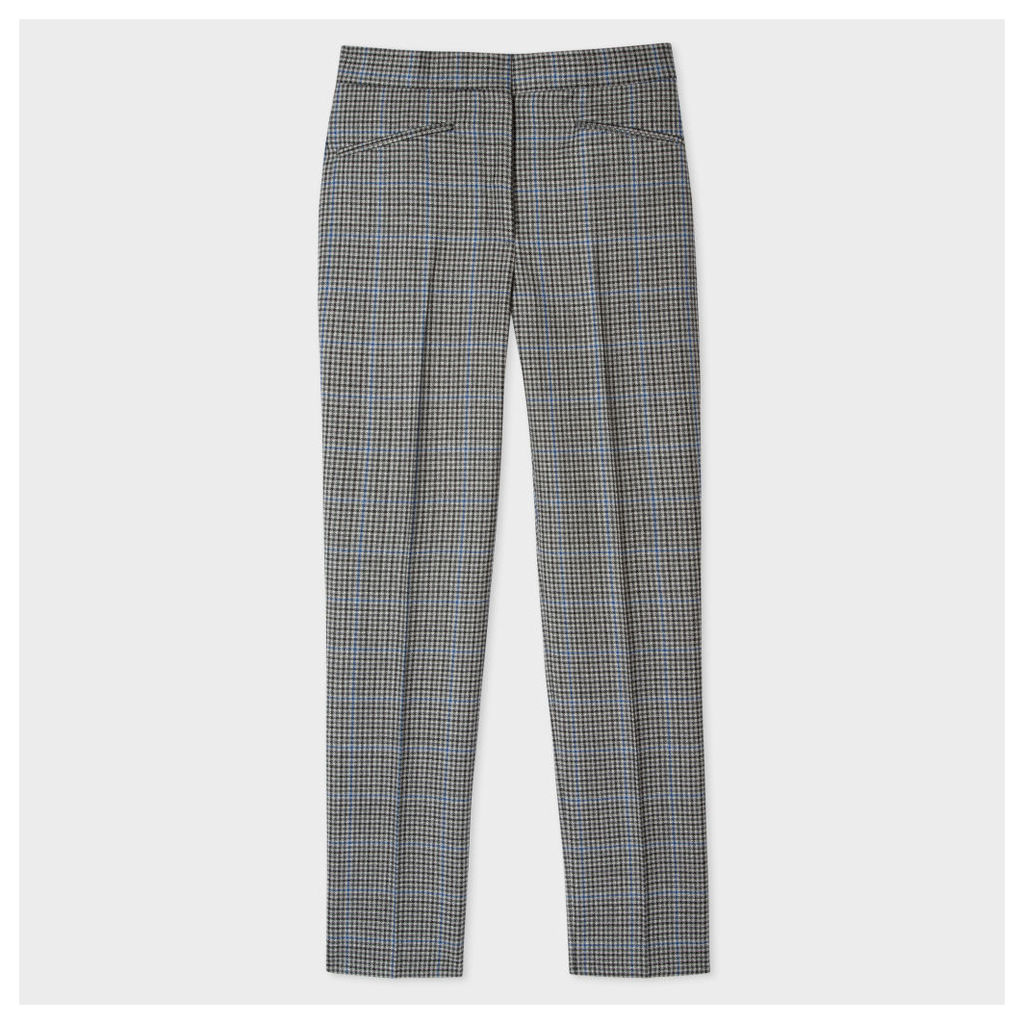 Women's Slim-Fit Puppytooth-Check Wool Trousers