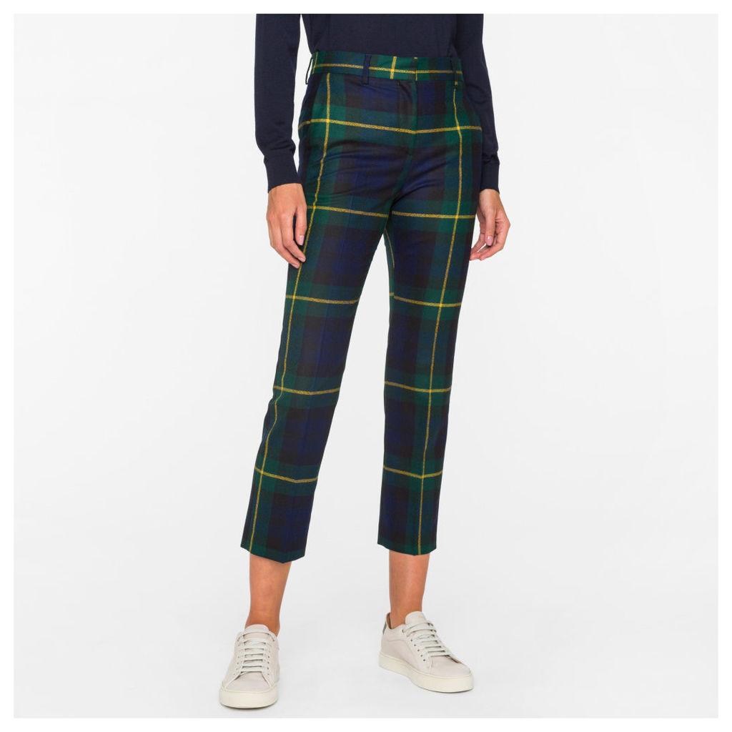 Women's Slim-Fit Black Watch Check Wool Trousers