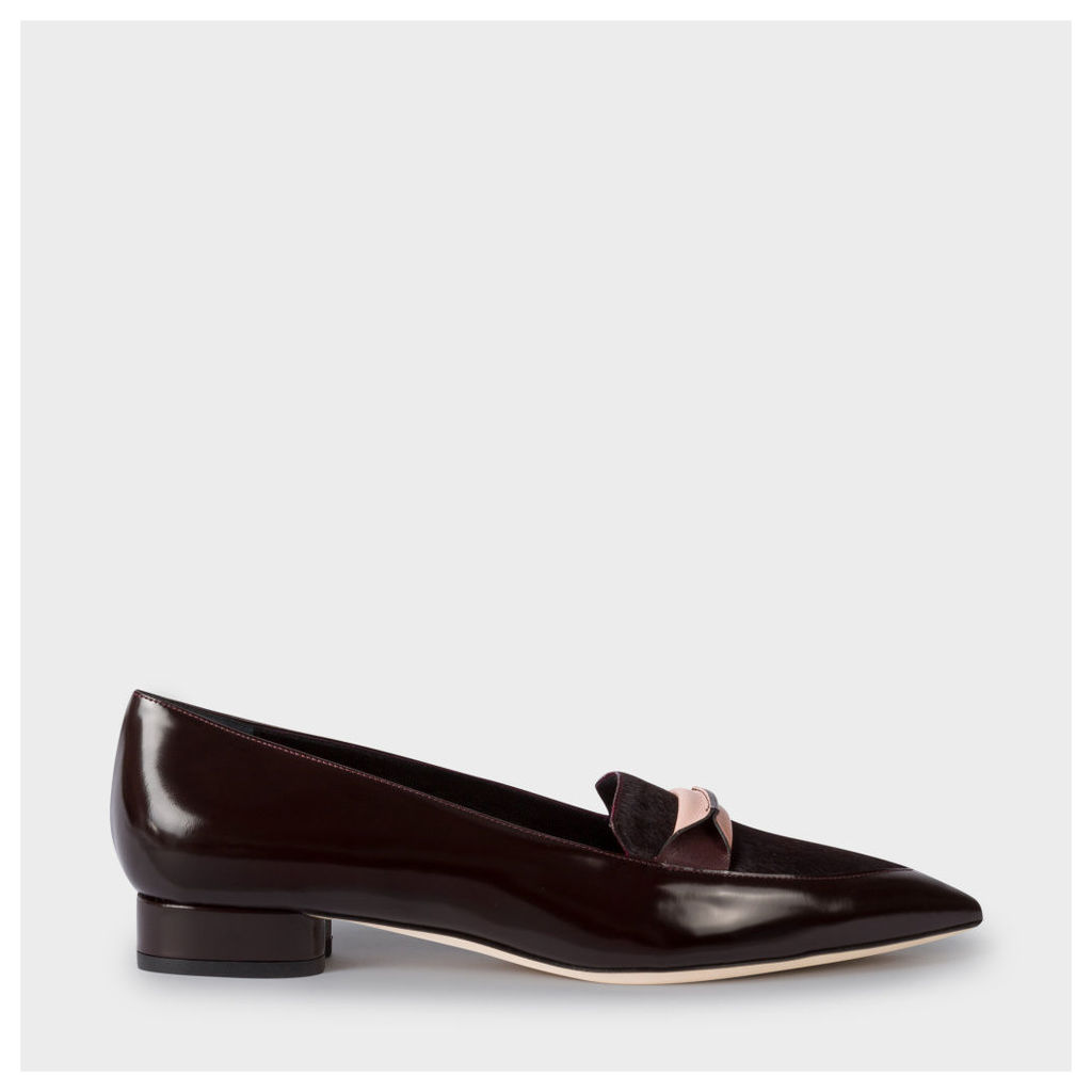 Women's Bordeaux Leather And Calf Hair 'Bree' Loafers