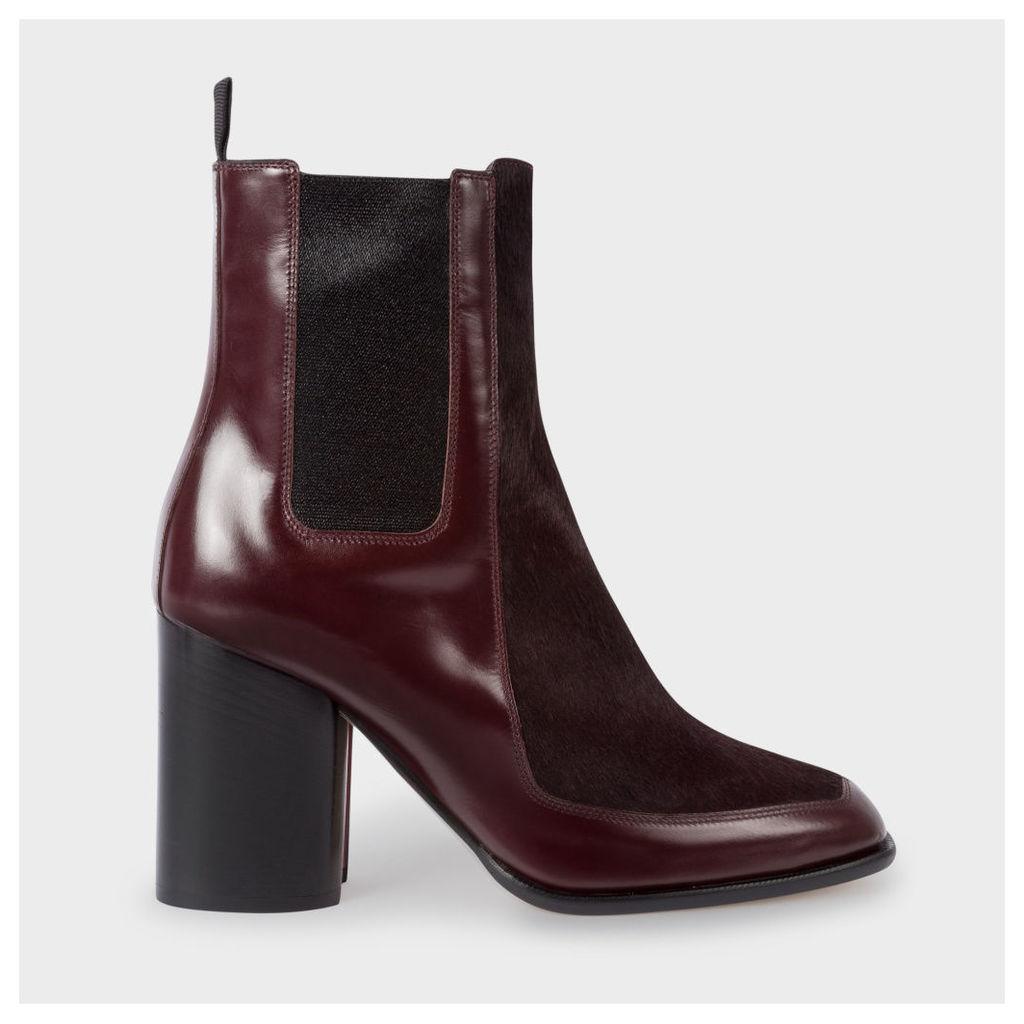 Women's Bordeaux Leather And Calf Hair 'Deva' Boots