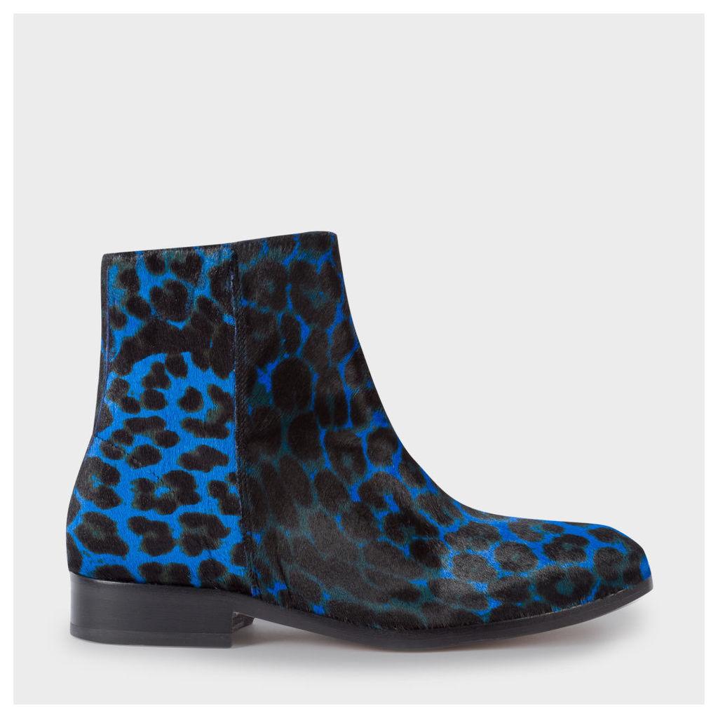 Women's Blue Leopard Print Calf Hair 'Brooklyn' Boots