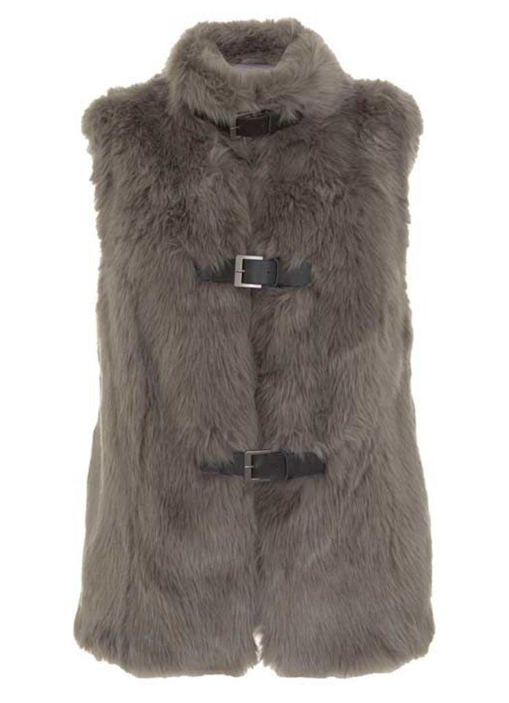 Grey Faux Fur Buckle Gilet