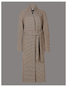 Autograph Dogtooth Print Belted Coat