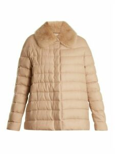 Moncler Gamme Rouge - Champlain Fur Trimmed Quilted Down Cashmere Jacket - Womens - Camel