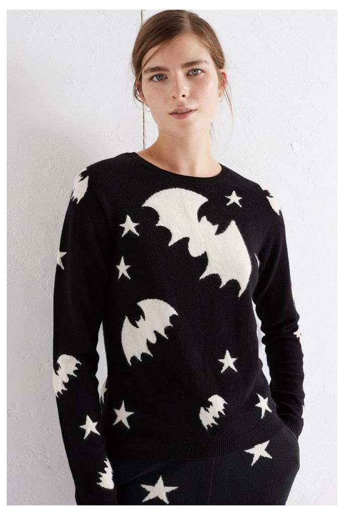 NEW EXCLUSIVE Black Star Bat Cashmere Blend Sweater
