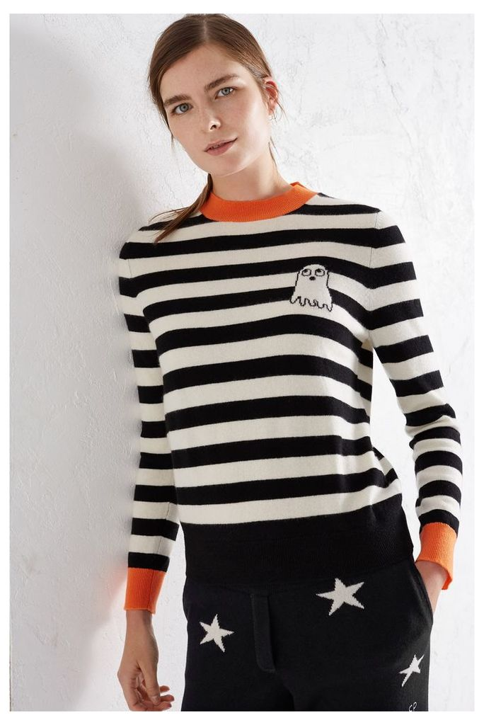 NEW EXCLUSIVE Black and Cream Ghost Cashmere Blend Sweater