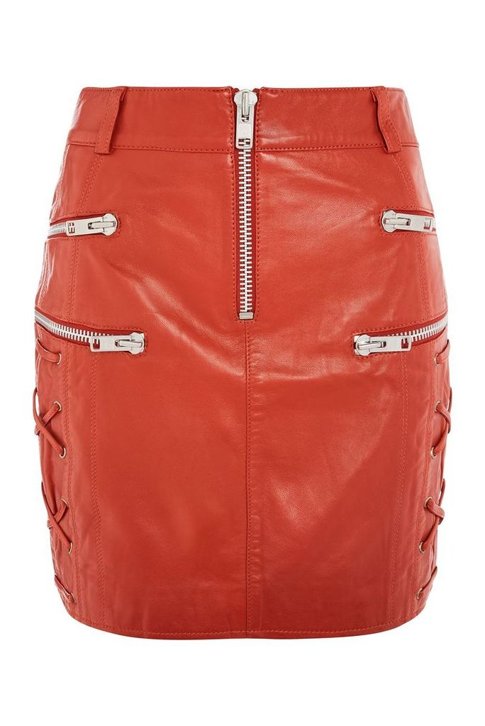 Womens Lace Side Zip Leather - Red, Red