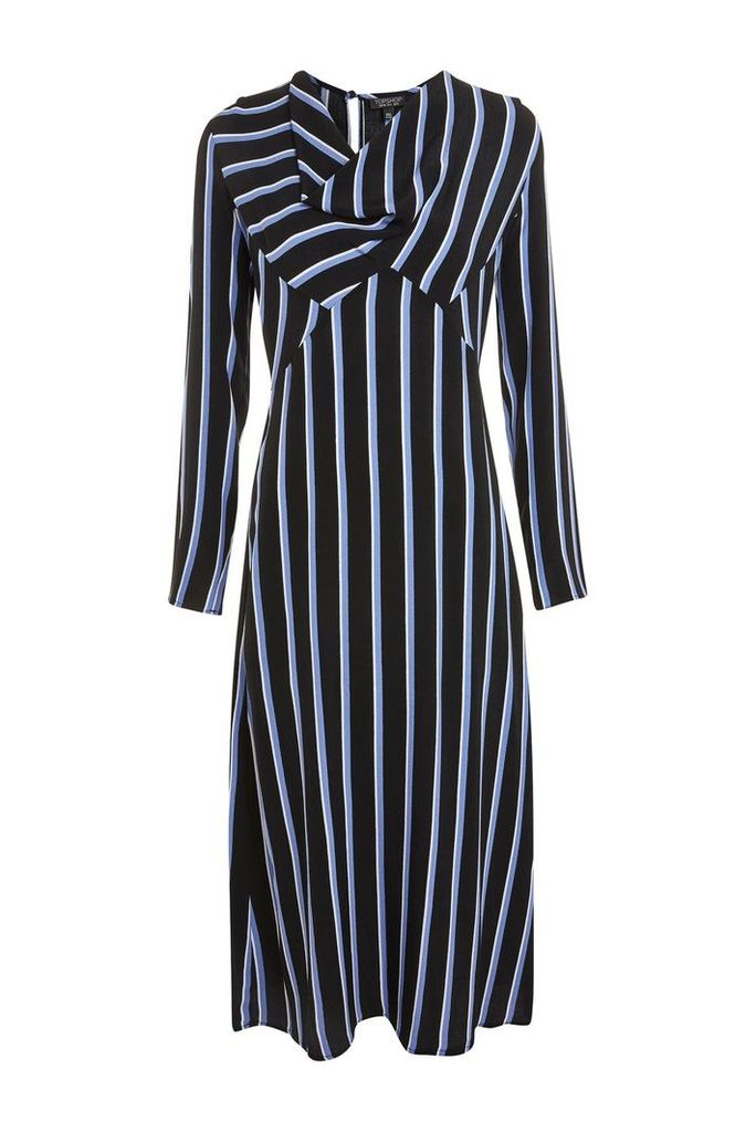 Womens Striped Bias Midi Dress - Blue, Blue