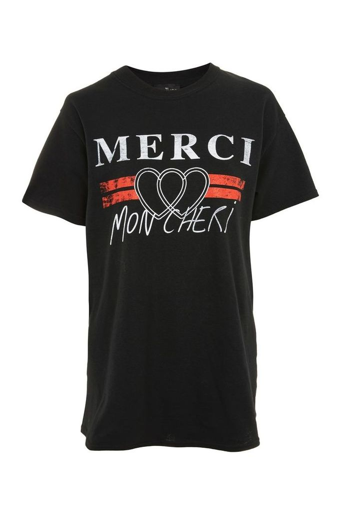 Womens TALL 'Merci' Graphic T-Shirt - Black, Black