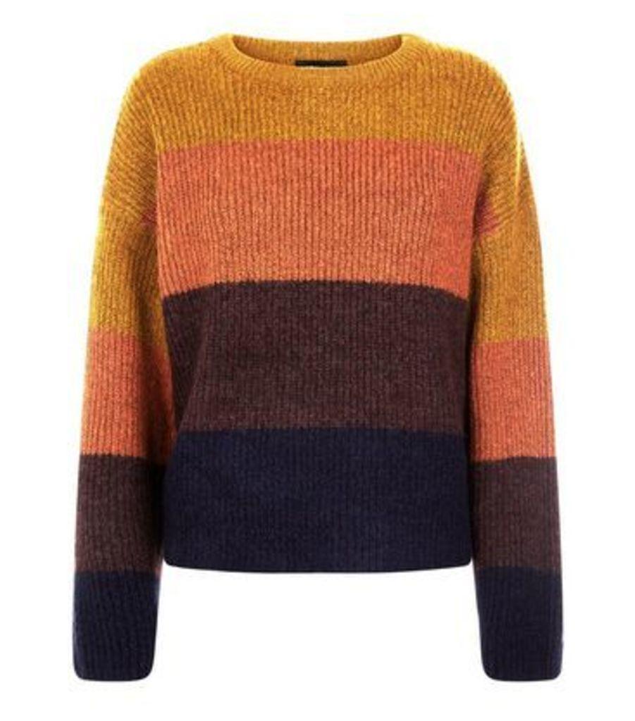 Mustard Colour Block Stripe Jumper New Look