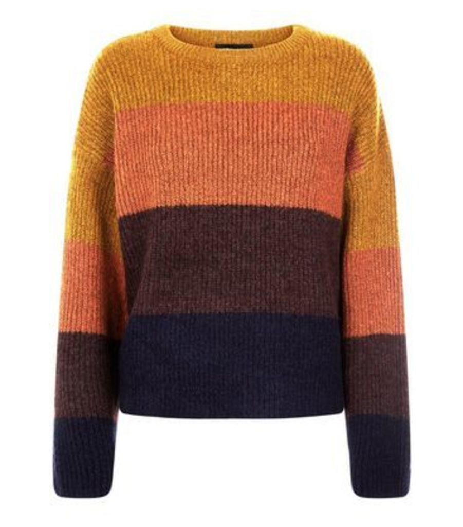 Mustard Colour Block Stripe Jumper New Look
