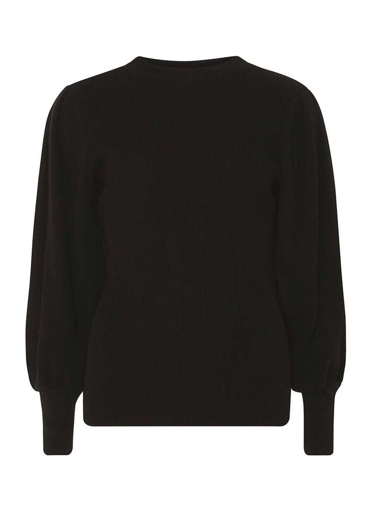 Womens Black Puff Sleeve Jumper- Black
