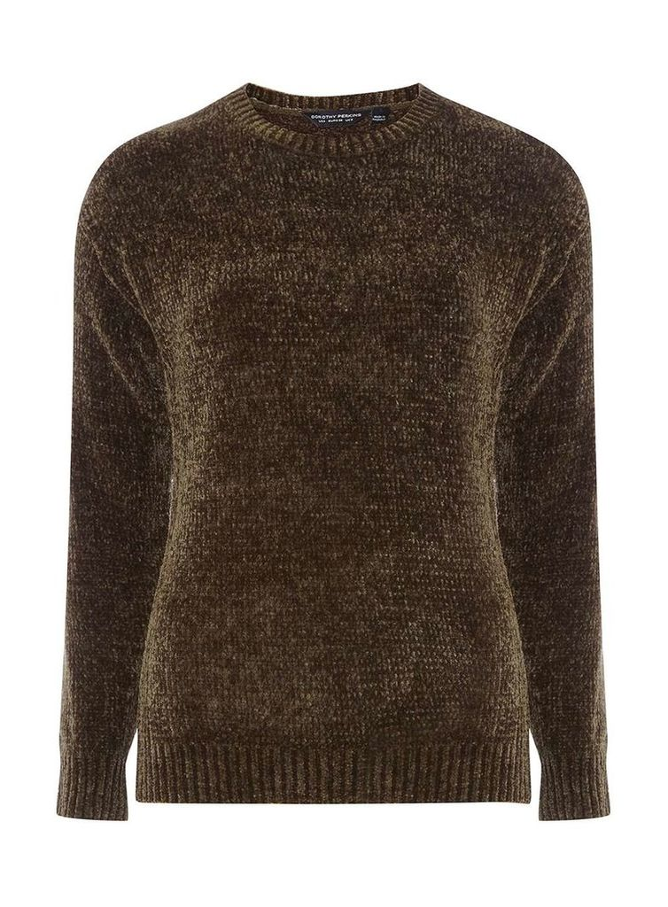 Womens Olive Chenille Jumper- Green