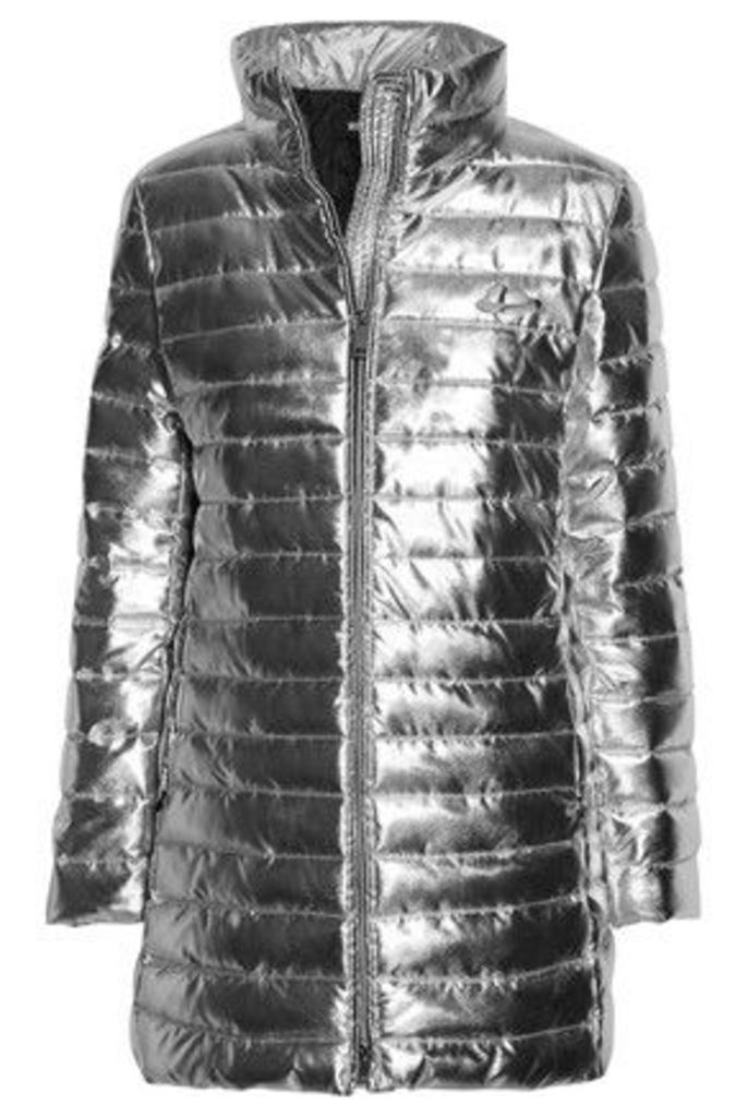 Love Moschino - Metallic Quilted Shell Jacket - Silver