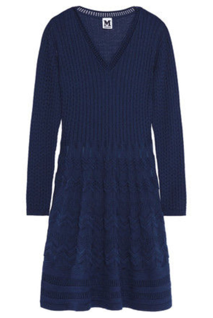 M Missoni - Crochet-knit Wool-blend Dress - Midnight blue