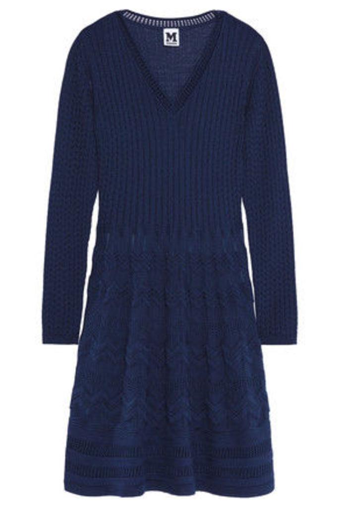 M Missoni - Crochet-knit Wool-blend Dress - Midnight blue