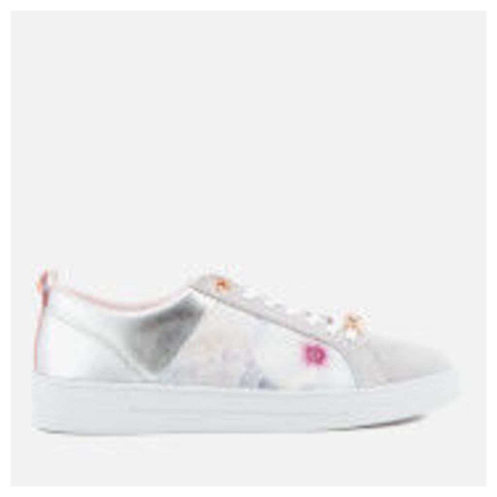 Ted Baker Women's Fushar Floral Print Cupsole Trainers - Grey Chelsea