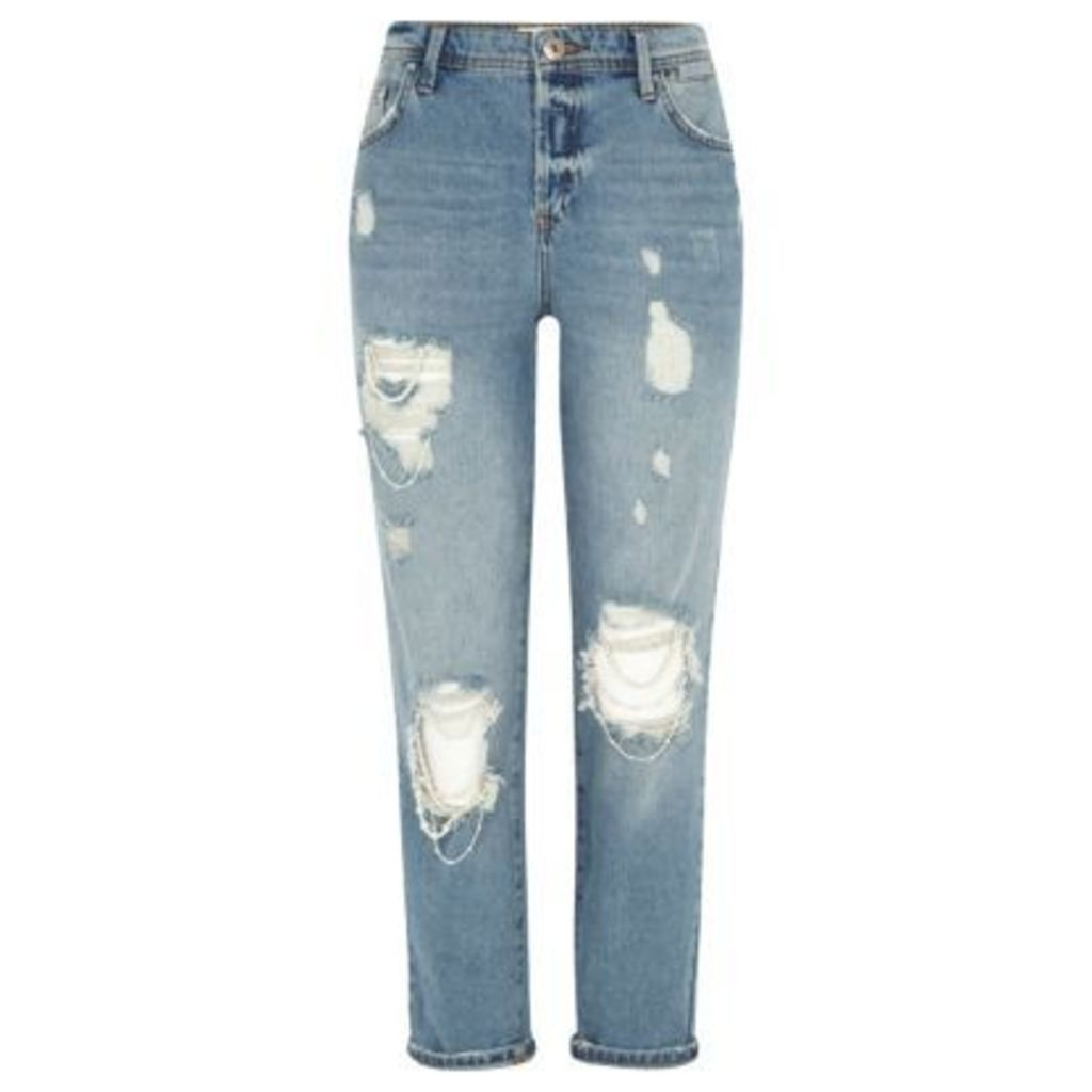 River Island Womens Blue authentic wash ripped boyfriend jeans