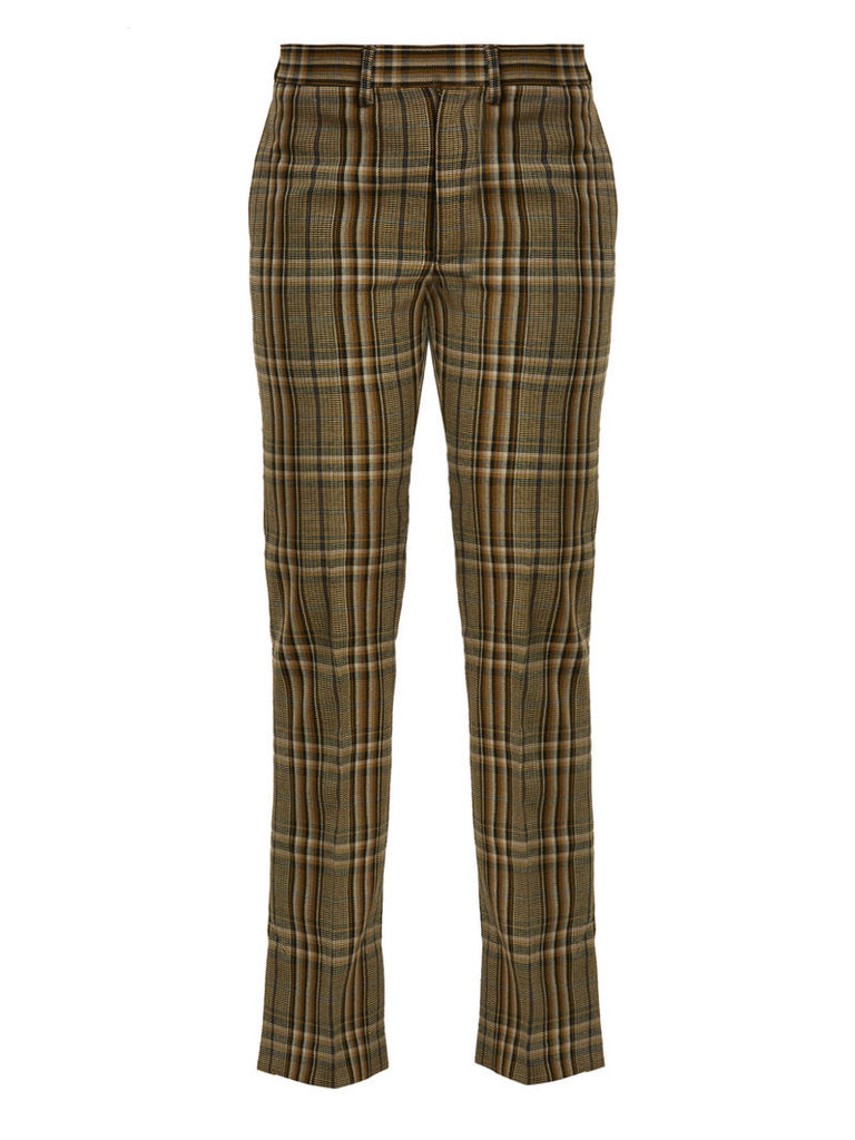Mid-rise checked wool trousers