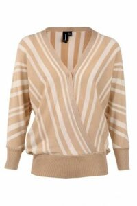 Monochrome Stripe Wrap Jumper