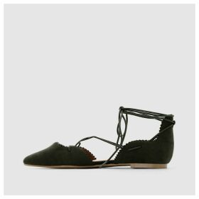Lace-Up Pointed Ballet Pumps