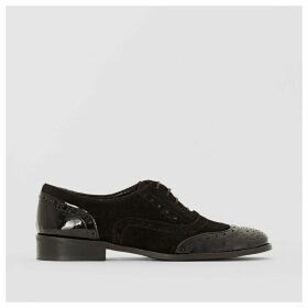 Dual Fabric Leather Brogues with Perforated Toe Cap
