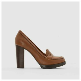 High-Heeled Leather Loafers