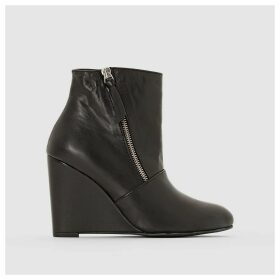 Wedge Heel Leather Ankle Boots