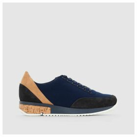 Leather Trainers with Cork Detail