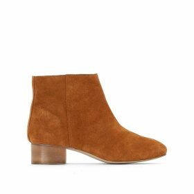 Leather Mid-Heel Ankle Boots