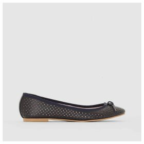 Perforated Leather Ballet Pumps