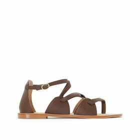 Leather Sandals with Cross-Over Straps