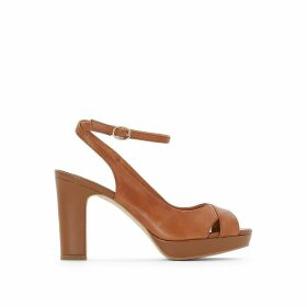 Leather Platform Sandals with Crossover Straps