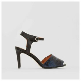 Python Effect Leather Sandals