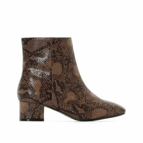 Wide-Fit Snakeskin Heeled Boots