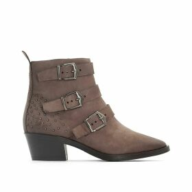 Fresno Leather Buckled Ankle Boots