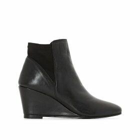 Wedge Heel Leather Boots