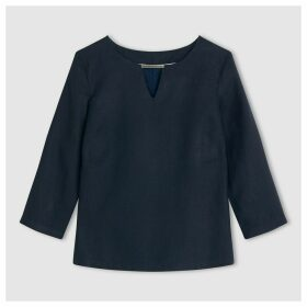 Linen Blouse with 3/4  Sleeves